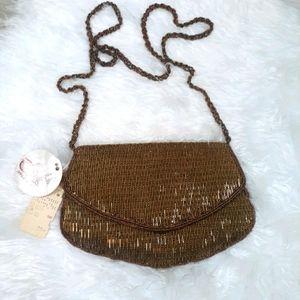 RARE Delill vtg copper beaded evening bag *P3 NWT